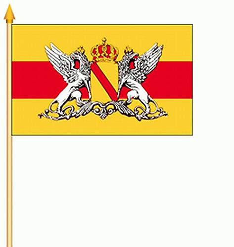 Fanshop Lünen Fahne Stockflagge 2 x Großherzogtum Baden Württemberg (Gelb) 30 x 40 cm Flagge Stockfahne