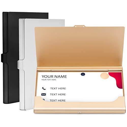 JJYHEHOT Tarjeteros Para Tarjetas De Visita, Estuche Para Tarjetas De Crédito De Aleación De Aluminio, Apariencia Exquisita (3 Piezas, 3 Colores)