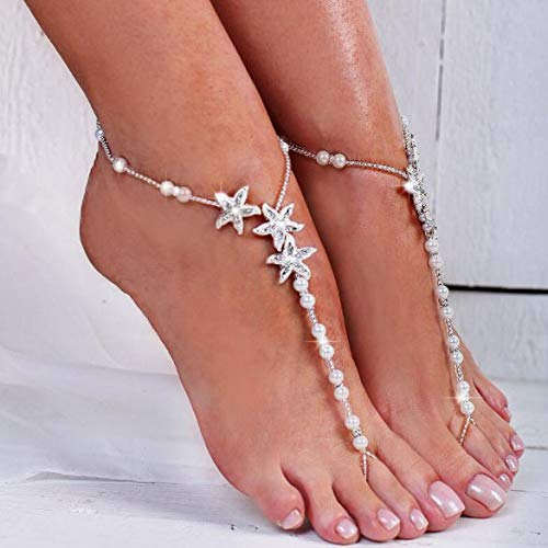 Artmiss Bridal Starfish Barefoot Sandals Women Beaded Bracelets Anklet Rhinestones Foot Chain Jewelry for Girls 2PCS