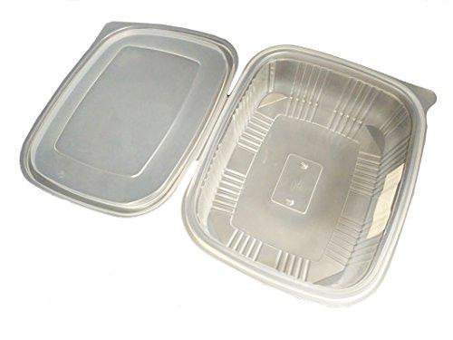 Pack de 25 Envases Desechables para Alimentos con Tapa, Tuppers de Plástico Aptos para Microondas, Tarrina de Comida para Llevar, Fiambrera de Usar y Tirar para Ensaladas | 1,5L | 210x150x55 m