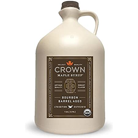 Crown Maple Organic Grade A Maple Syrup, Bourbon Barrel Aged, 128 Ounce