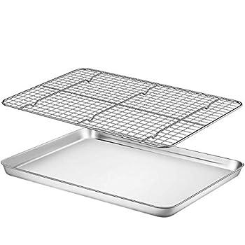 "Baking Sheet with Rack Set - Fungun  16.02"" x 12.13""Pan / 15.24'' x 11.22''Cooling Rack  Stainless Steel Heavy-Duty Cookie Half Sheets Oven Tray for Baking with Oven Safe Baking/Cooling Rack"