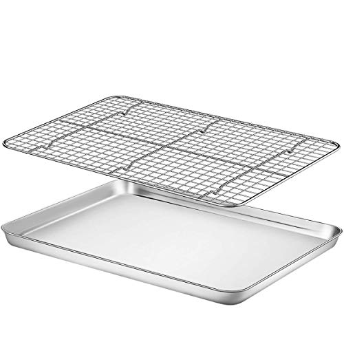 "Baking Sheet with Rack Set - Fungun (16.02"" x 12.13""Pan / 15.24'' x 11.22''Cooling Rack) Stainless Steel Heavy-Duty Cookie Half Sheets Oven Tray for Baking with Oven Safe Baking/Cooling Rack"
