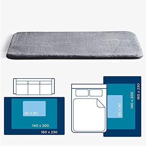 Bedsure Alfombra Dormitorio Pequeña Gris - Alfombra Habitación Matrimonio de Pelo Corto Suave Peluda, Alfombra Cuarto Lavable para Pie de Cama, 60x90 cm