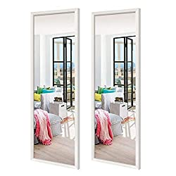"DIMENSION: The wall mirror comes with white frame, the total size is about 48""H x 14""W x 0.8""D, large enough for your daily use, pack of 2. MATERIAL: The oversized rectangular mirror is constructed of high-definition glass, The wall mirror itself has..."