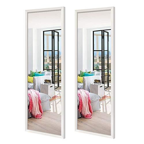 EONO Essentials 2 Stück Großer Spiegel 36x122cm Wandspiegel Ganzkörperspiegel mit weißem Rahmen für Wohnzimmer Badezimmer Flur und Ankleideraum