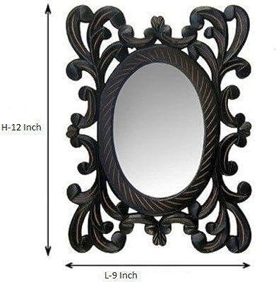 R.A.A.WOOD CARVING Decorative Hand Carved Wood Wall Mirror (22 cm x 2 cm x 30 cm, Black)