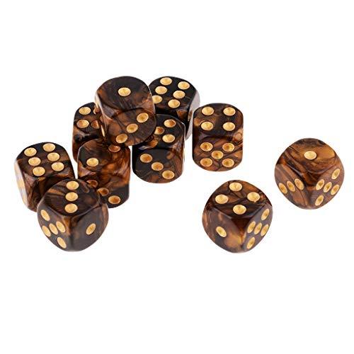 Conjunto de dados de jogo F Fityle com 10 peças, 6 lados, 10 cores translúcidas quadradas de milho – preto + dourado, conforme descrito