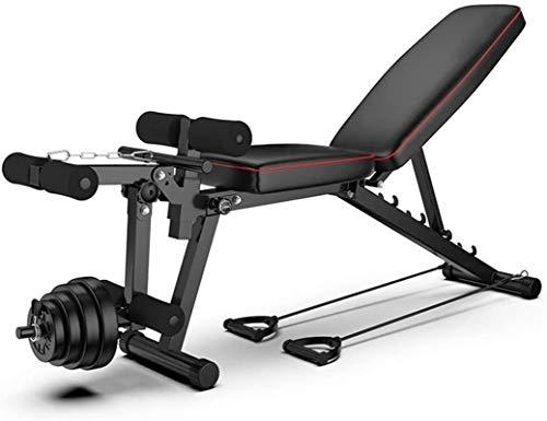 BATOWE Regolabile Panca banco di allenamento allenamento olimpico Bench Press, Corpo Solido Leg Extension Leg Curl Machine, 5 + 3 posizioni regolabili Panca for Full Body Workout, con fasce di resiste