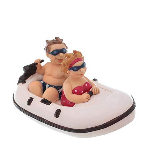 Topshop24you wunderschöne große Spardose,Sparbüchse Urlaubskasse,Reisekasse Paar im Schlauchboot aus Polyresin mit Gummipfropfen