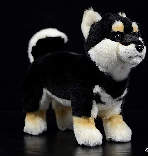 JIAL Naturgetreue Toy Black Shiba Inu Plüschtier über 28Cm weicher Hunde Puppe-Baby-Spielzeug Weihnachten Kinder Geschenk Chongxiang