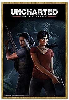 Uncharted The Lost Legacy Cover Poster Magnetic Notice Board Oak Framed - 96.5 x 66 cms (Approx 38 x 26 inches)