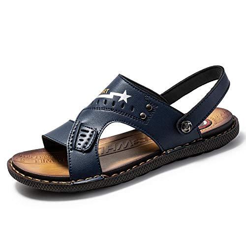 Toallas Sandalias de verano casual chanclas personalizadas de cuero de moda sandalias y zapatillas de hombre-azul_44