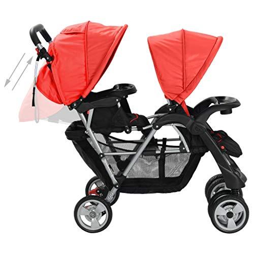 Cikonielf Tandem Kinderwagen Multifunktions Kinderwagen Mit einem Stahlrahmen und 2 zusammenklappbare Überdachungen für 1-2 Kinder mit einem Maximalgewicht von jeweils 15 kg