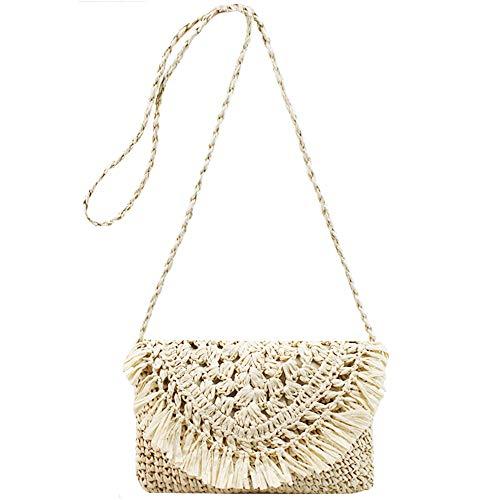 Van Caro Women's Straw Crochet Tassel Shoulder Purse Bohemian Messenger Bag Envelope Beach Bag Beige