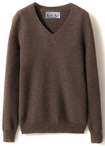 LinyXin Cashmere Damen Kaschmir Rollkragen Pullover Wolle Langarm Freizeit Winter Warm Pulli Sweater (XL / 46-48, Braun)