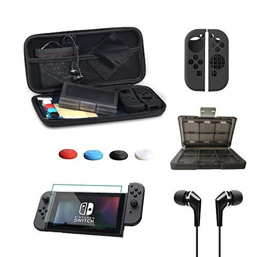 Flysee Kit de Accesorios 13 en 1 Funda de Transporte para Nintendo Switch Protector de Pantalla, Auriculares, Funda para 24 tarjetas de juego, 4 Tapas Empuñadura de Pulgar, 2 cubierta Joy-Con, Negro