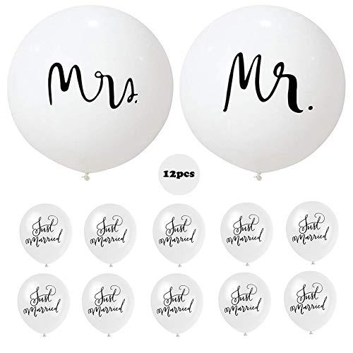 JAHEMU Hochzeits Luftballon Weiß Riesenballons Ballons MR Mrs Latexballon 36 Zoll und Just Married Luftballons 12 Zoll für Hochzeit Bridal Dusche Jahrestag Dekoration 12 Stück