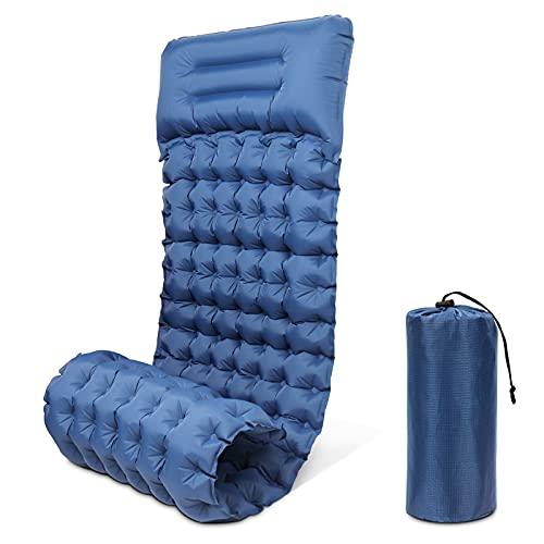 Komake Isomatte Camping, verbesserte zusätzliche Dicke 3,9 Zoll mit Kissen, wasserdichte aufblasbare PVC-Campingmatte für Zeltwanderungen