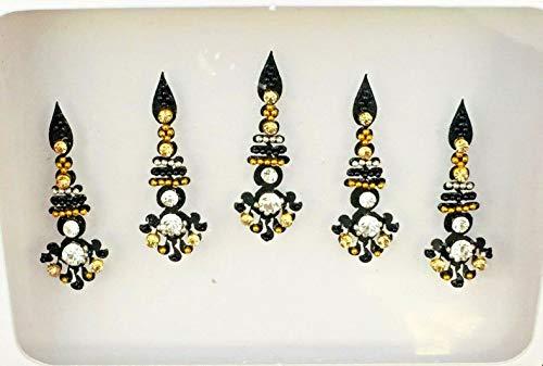 BB197 Schwarz Bindi Gold Silber StonePearl Perlenstickerei Bindi Tattoo Stirn Aufkleber Hochzeit Tikka indische Fantasie-Partei-arabisches Gesicht Gem Körperkunst