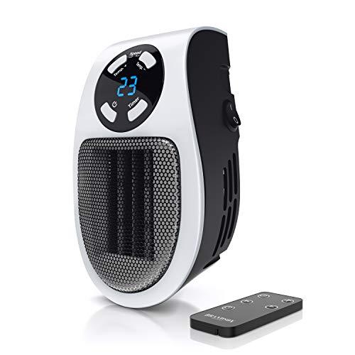 Brandson - Mini Calefactor cerámico 500W - Mini Calentador - Plug-in Enchufe - Mando a Distancia - Temporizador de 1 a 12 Horas - Termostato de 15 a 30 Grados - Fusible térmico - Portátil – Potente