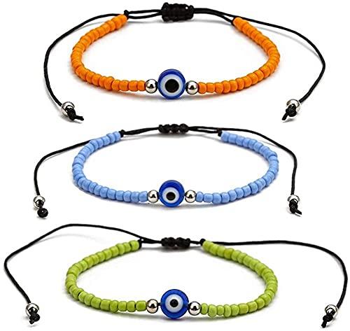 Chyang Pulsera de ojo malvado de 3 piezas – cordón ajustable de Kabbalah pulseras Lucky Ojo amuleto Nazar pulsera de mal de ojo para pareja familiar Bestfriend mujeres hombres, 3 paquetes