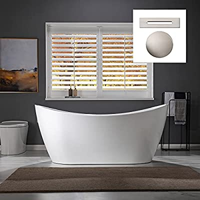 "WOODBRIDGE 67"" Freestanding Bathtub Contemporary Soaking Tub, White Acrylic (Brushed Nickel Drain/Overflow),B0010 B/N-Drain &O"