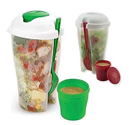 Fresh Salad Container Serving Cup Shaker with Dressing Container Fork Food Storage Bonus Recipes, Use This Bowl for Picnic, Lunch to Go, Made with Plastic Bottle - Eat Healthy -(Set of 2)