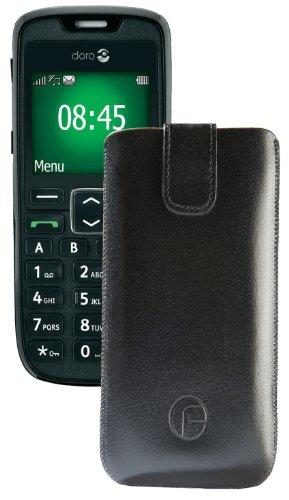 Original Favory Etui Tasche für / Doro PhoneEasy 508 / Leder Etui Handytasche Ledertasche Schutzhülle Hülle Hülle Lasche mit Rückzugfunktion* in Schwarz