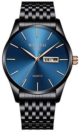 NO BRAND IP Negro Business Men's Watch Reloj de Cuarzo Calendario Impermeable Simple Men's Watch Párrafo Azul