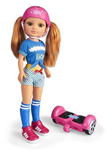 Nancy - Un Día con Mi Hoverboard, Muñeca Mecánica con Patinete Hoverboard para Niños y Niñas a Partir de 3 Años, Multicolor, (Famosa 700015134)