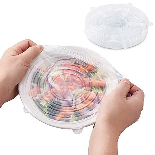 Juego de 6 tapas elásticas para ensalada, tapas mágicas, flexibles, miricales, ecológicas, reutilizables de silicona y bolsas de almacenamiento de alimentos