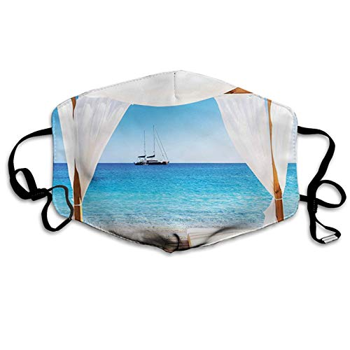 GULTMEE Beach Through A Balinese Bed Summer Sunshine Clear Sky Honey Unisex Adult Fashion Cloth Face Mask Washable Reusable Adjustable Breathable Made in USA