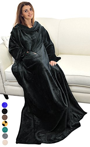 """Catalonia Wearable Blanket with Sleeves and Pocket,Cozy Soft Fleece Mink Micro Plush Wrap Throws Blanket Robe for Women and Men 73"""" x 51"""""""