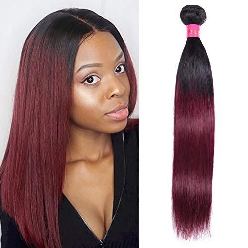 WOME Peruvian Hair Bundles 1 Bundle Dark Root Ombre Burgundy Red Silky Straight Human Hair Weaves Extensions(16', 1b/99J#)