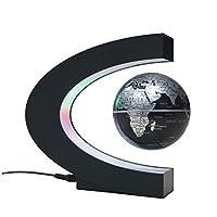 FLOTTANT ET ROTATIF DANS MIDAIR: Fonctionné par un système magnétique contrôlé électroniquement, ce qui permet au globe de flotter facilement. ÉCLAIRAGE LED: livré avec une lumière LED qui lui donne un aspect très cool lorsqu'il est allumé dans l'obs...