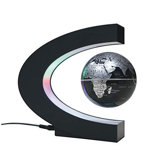 Ritioner Globe Terrestre, Gadget Objet Insolite, Créatif Globe Terrestre Lumineux Flottant Magnétique,3IN Forme de C de Carte du Monde en Rotation de Maglev, pour la Décoration de Bureau