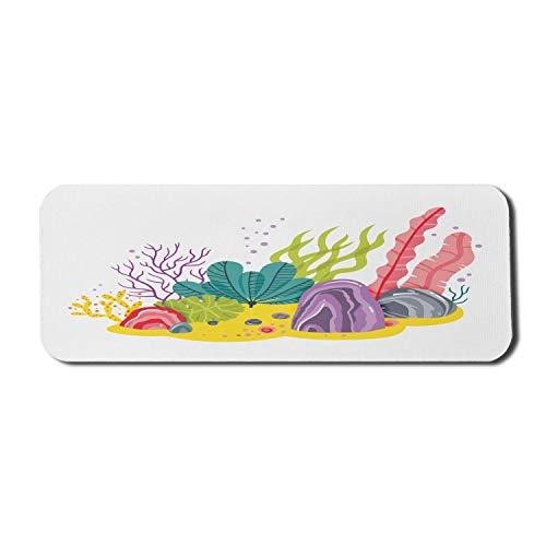 Aqua und Coral Computer Mouse Pad, ozeanische Zusammensetzung von bunten exotischen Pflanzen Rocks Pebbles, Rechteck rutschfeste Gummi Mousepad großen Senf und mehrfarbig