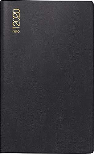 rido/idé 704537290 Taschen-/Faltkalender Miniplaner d12 (2 Seiten = 1 Monat, 87 x 153 cm, Kunststoff-Einband, Kalendarium 2020) schwarz