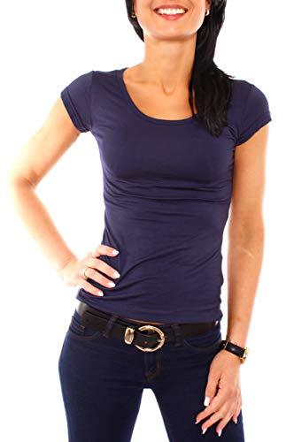 Easy Young Fashion Damen T-Shirt Basic Kurzarm Top mit Rundhals-Ausschnitt Skiny Fit NOS Einfarbig Dunkelblau M 38
