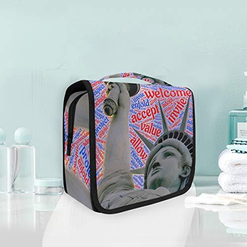 Welcome-Statue of Liberty Kulturtasche Reisetasche Kosmetiktasche zum Aufhängen von Make-up-Tasche Multifunktions-Aufbewahrungstasche tragbare Kulturtasche für Frauen Mädchen