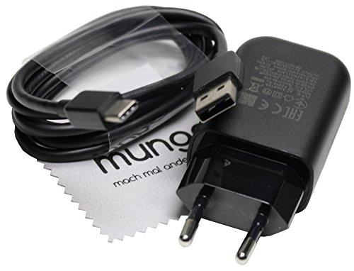 Ladegerät für Original HTC TC P5000+ Typ C Ladekabel (Quick Charge 3.0) für HTC 10, U11/U11+, U12+ / U12life, 10 Lifestyle schwarz mit mungoo Displayputztuch