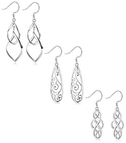 LOYALLOOK 3Pairs 925 Sterling Silver Celtic Knot Filigree Teardrop Double Twist Wave Long Tassels Drop Dangle Earrings for Women