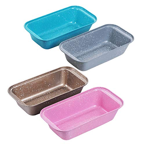 4PCS Medium Loaf Bread Pan, Non-stick Coating Carbon Steel Baking Bread Pan (Gold/Pink/Blue/Grey),Safety bread Loaf Pan
