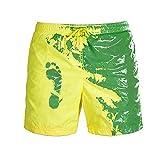 Meiju Cambia Colore Spiaggia Pantaloncini Uomini, Estate Asciugatura Rapida Pantaloncini Nuoto Traspirante Costume da Bagno per Festa, Sport, Spiaggia, Nuoto (Giallo Verde,M)