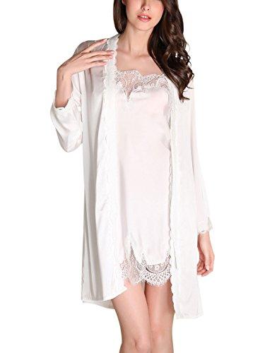 Aivtalk Damen Pyjama 2PCS Schlafanzug aus Kunstseide V-Ausschnitt Nachkleider + Robe Elegante Weiche Negligee mit Spitze Fashion Nachtwäsche mit weiche Blumenspitze Asiatische Größe XL - Weiß