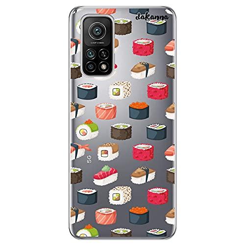 Dakanna Funda Compatible con [ Xiaomi Mi 10T 5G - Mi 10T Pro 5G ] de Silicona Flexible, Dibujo Diseño [ Comida Sushi ], Color [Fondo Transparente] Carcasa Case Cover de Gel TPU para Smartphone