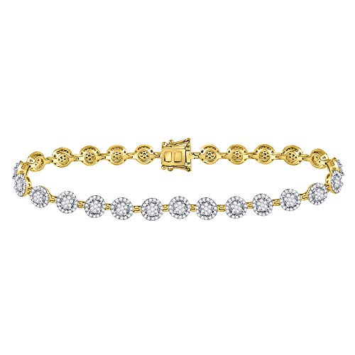 Bracciale tennis in oro giallo 14 ct con diamanti rotondi a forma di aureola da 2,00 Cttw per le donne