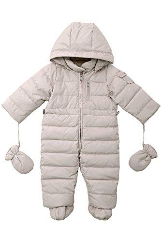 OCEANKIDS Baby Boys Girls Beige Pram One-Piece Snowsuit Attached Hood 9M 6-9...