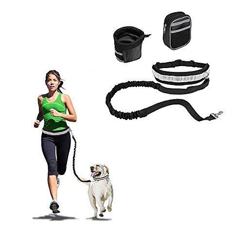 AntEuro Hände Frei Jogging-Leine 144 cm Hundeleine mit Verstellbarem für Hunde Hundeleinen Set Reflektierende Bauchgurt für Joggen, Spazieren und Wandern (Schwarz)